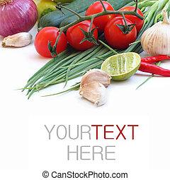 (with, warzywa, text), próbka, zielone tło, świeży, biały