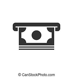 Withdrawal of money black icon on white background