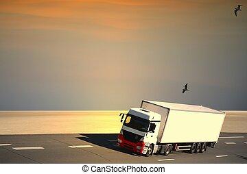 withe, camion, semi, autoroute
