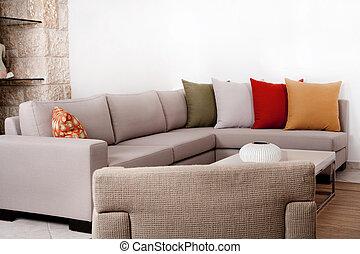 withe, moderno, cuscino, divano, colorato