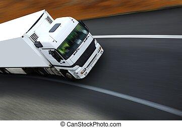 withe, semi camion, su, autostrada