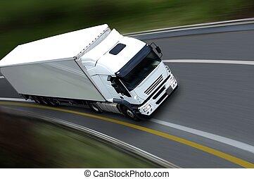 withe, semi lastbil, på, vej