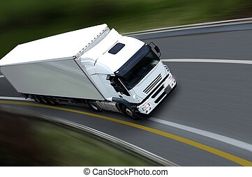 withe semi truck on road - semi truck on road