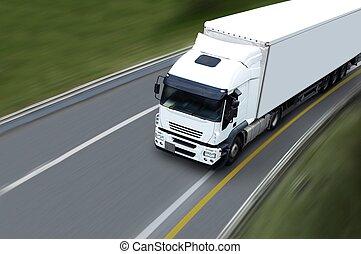 withe, vrachtwagen, semi, highwa