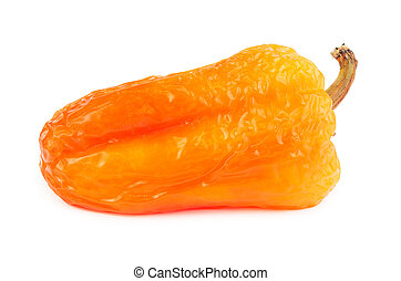 Withered orange bell pepper isolated