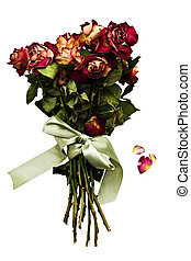 Withered rose bouquet with falling petals and tied with a green satin bow. Isolated on white.