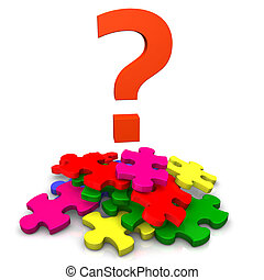 Without Solution Process - Multicolored puzzles with big red...