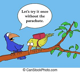 Without the parachute - A mentor bird is encouraging his son...