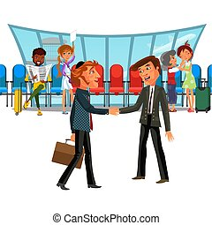 Witing room airport window and rows of chairs, multinational people in terminal, african American man reading newspapaer vector illustration, businessmen shake hands, emotional encounter