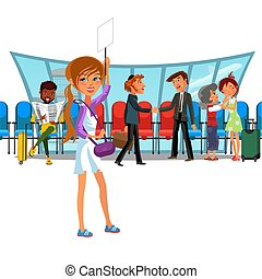 Witing room airport window and rows of chairs, multinational people in terminal, vector illustration, emotional meeting, meeting at airport, girl with sign waiting arrival aircraft