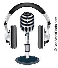 witn, vector, micrófono, auriculares