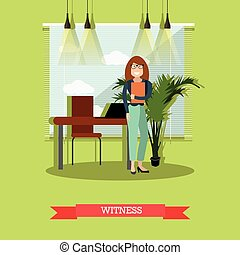 Witness concept vector illustration in flat style - Vector...