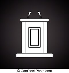 Witness stand icon. Black background with white. Vector...