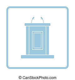 Witness stand icon. Blue frame design. Vector illustration.