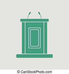 Witness stand icon. Gray background with green. Vector...