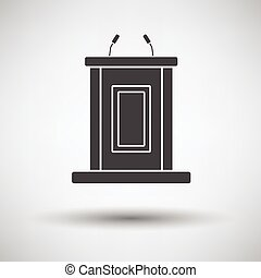 Witness stand icon on gray background with round shadow....