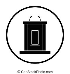 Witness stand icon. Thin circle design. Vector illustration.