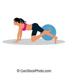witness woman, stability ball, vector illustration