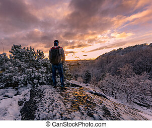 Witnessing first snow on top of a hill close by. Self portrait