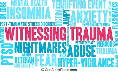 Witnessing Trauma word cloud on a white background.