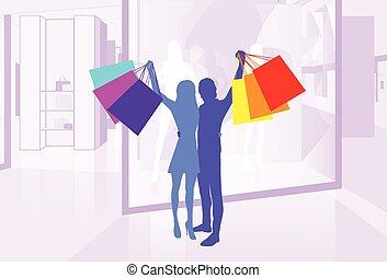 witryna, para, sylwetka, utrzymywać, zakupy