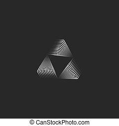 witte , 3d, logo, lijnen, moderne, mager, minimaal, black , helling, metalen, futuristisch, creatief, driehoekig, portaal, driehoek, geometrisch, stijl, vorm, oneindig, vorm