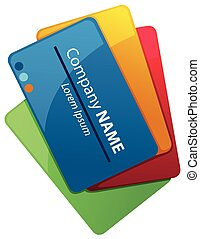 witte achtergrond, businesscards, stapel