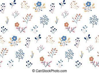 witte achtergrond, floral model, vector, seamless