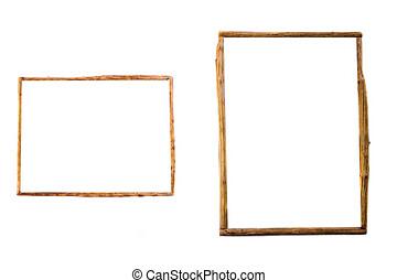 witte achtergrond, frame, houten, vrijstaand
