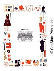witte , achtergrond., frame, knitting., materialen, mal, postkaart, plek, text., borduurwerk, poster, verticaal, tekst, vrijstaand, naaiwerk, voorwerpen, koersen, brochure., vector