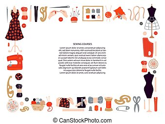 witte , achtergrond., frame, knitting., materialen, mal, postkaart, plek, text., borduurwerk, poster, tekst, vrijstaand, naaiwerk, horizontaal, voorwerpen, koersen, brochure., vector, gemaakt