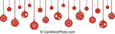 witte achtergrond, hangend, set, kerstmis, gelul