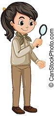 witte achtergrond, meisje, uniform, vergrootglas, verkenner