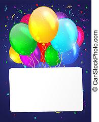 witte achtergrond, met, veelkleurig, balloons.