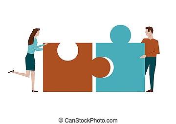 witte achtergrond, raadsel, vrouw, man, bijeenkomen