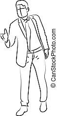 witte , achtergrond., vector, illustratie, man, kostuum