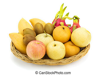 witte achtergrond, vrijstaand, rijp, vruchten