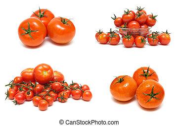 witte achtergrond, vrijstaand, rijpe tomaten