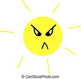 witte , achtergrond., zon, vector, illustratie, boos