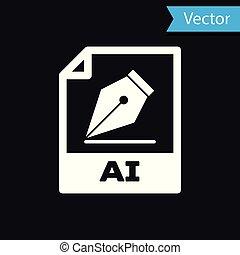 witte , ai, bestand, document, icon., downloaden, ai, knoop, pictogram, vrijstaand, op, black , achtergrond., ai, bestand, symbool., vector, illustratie
