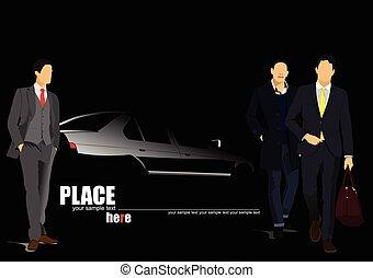 witte , auto, silhouette, met, mannen, op, b