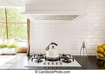 witte baksteen, backsplash, idee