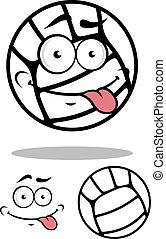 witte bal, spotprent, volleybal