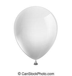 witte , balloon, achtergrond, vrijstaand