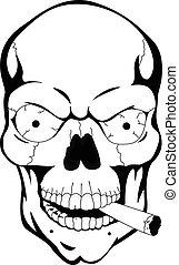 witte , black , menselijke schedel