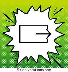 witte , black , opbrengst, popart, groene achtergrond, pictogram, teken., spots., illustration., gespetter
