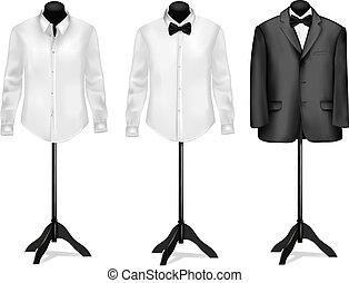 witte , black , overhemden, kostuum