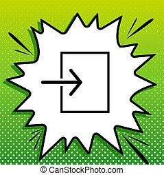witte , black , popart, groene achtergrond, pictogram, teken., spots., invoer, illustration., gespetter