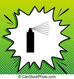 witte , black , popart, groene, fles, pictogram, teken., achtergrond, verpulveren, spots., illustration., gespetter