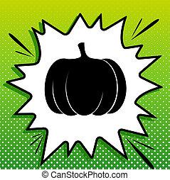 witte , black , popart, groene, pompoen, pictogram, teken., achtergrond, spots., illustration., gespetter